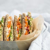 Pickled Carrot and Hummus Sandwich with Sprouts | http://naturallyella.com