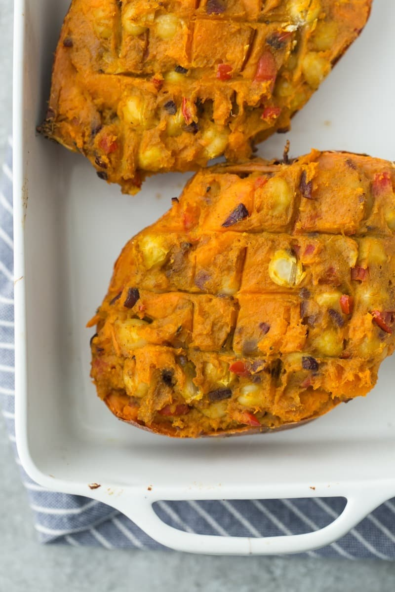 Curried Twice-Baked Sweet Potato with Vegetables and Chickpeas | Naturally Ella
