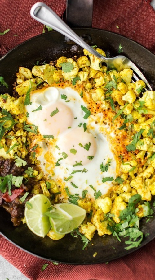 Turmeric Cauliflower Egg Skillet with Apple Chutney | http://naturallyella.com