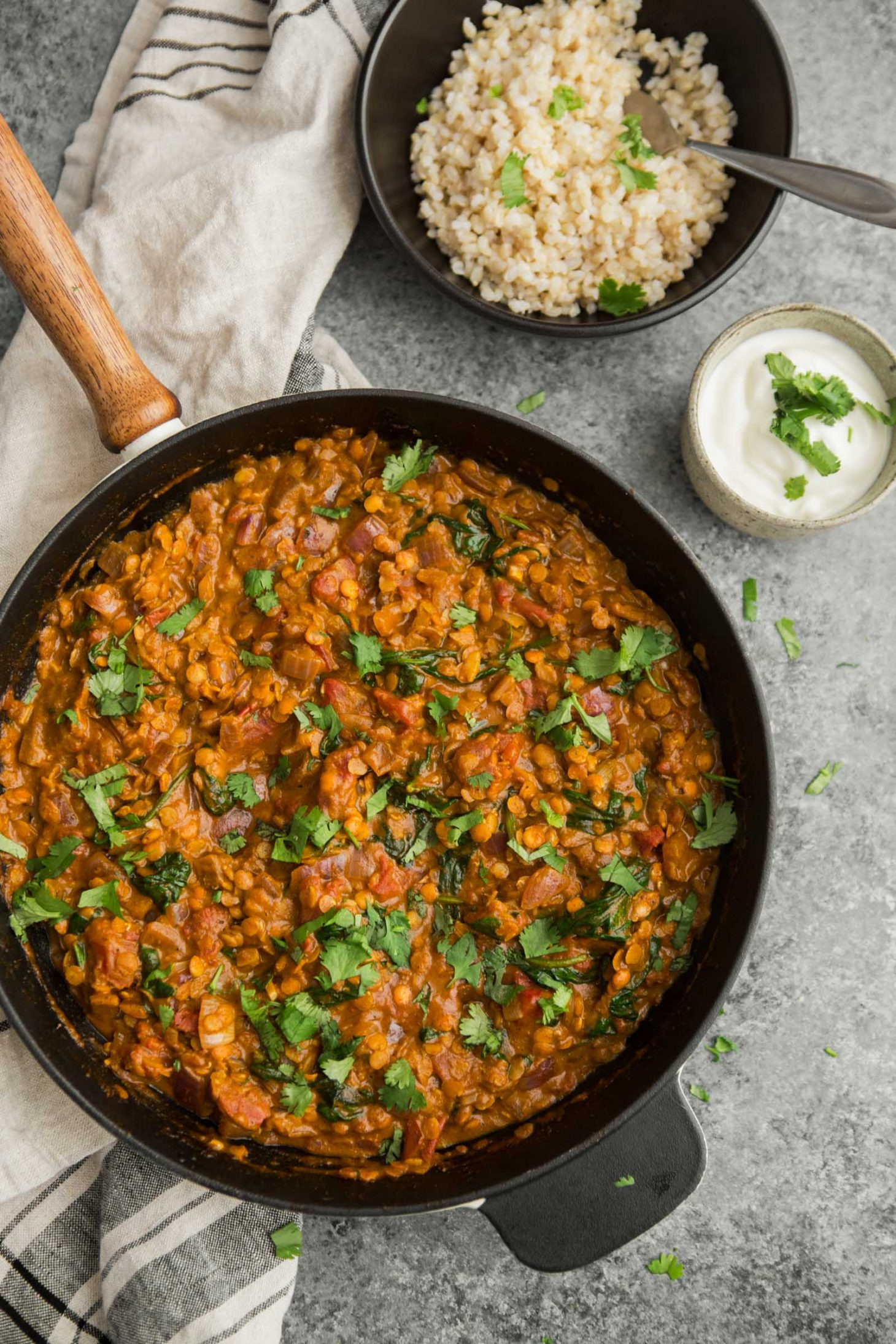 Red Lentil Masala with Spinach | @naturallyella