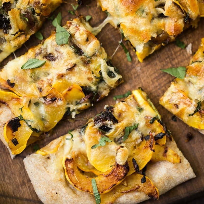 Delicata Squash Pizza with Red Onion and Basil