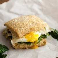Fried Egg Biscuit Sandwich with Garlicky Greens