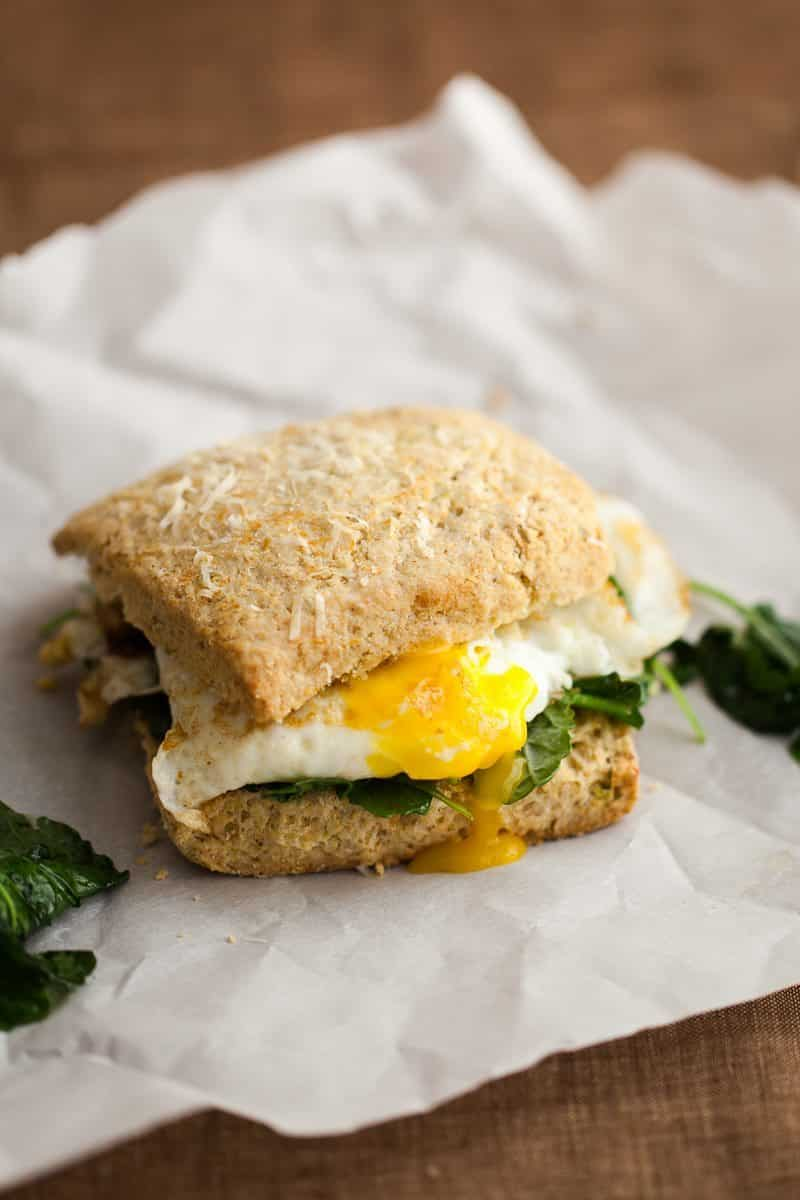 Fried Egg Biscuit Sandwich with Garlicky Greens - Cats Love Cooking