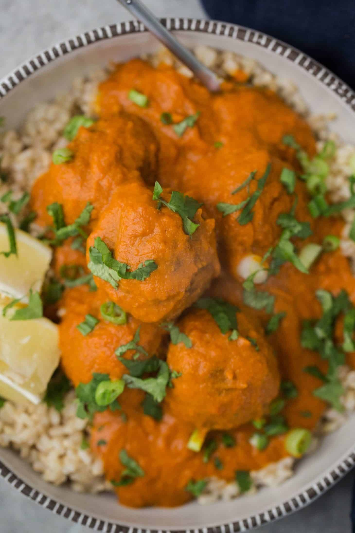 Curried Vegetarian Meatballs with Brown Rice