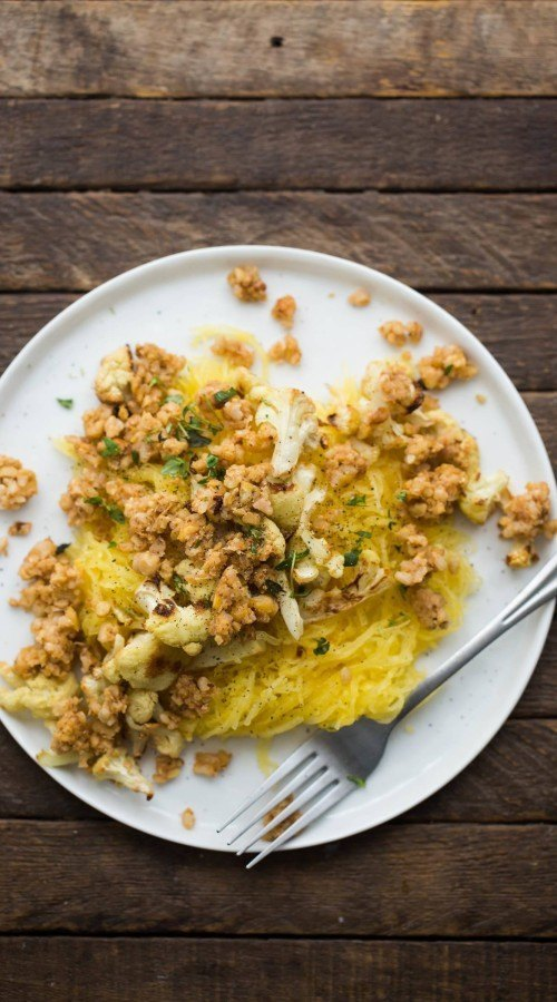 Roasted Spaghetti Squash with Thyme Butter and Pecan Crumble