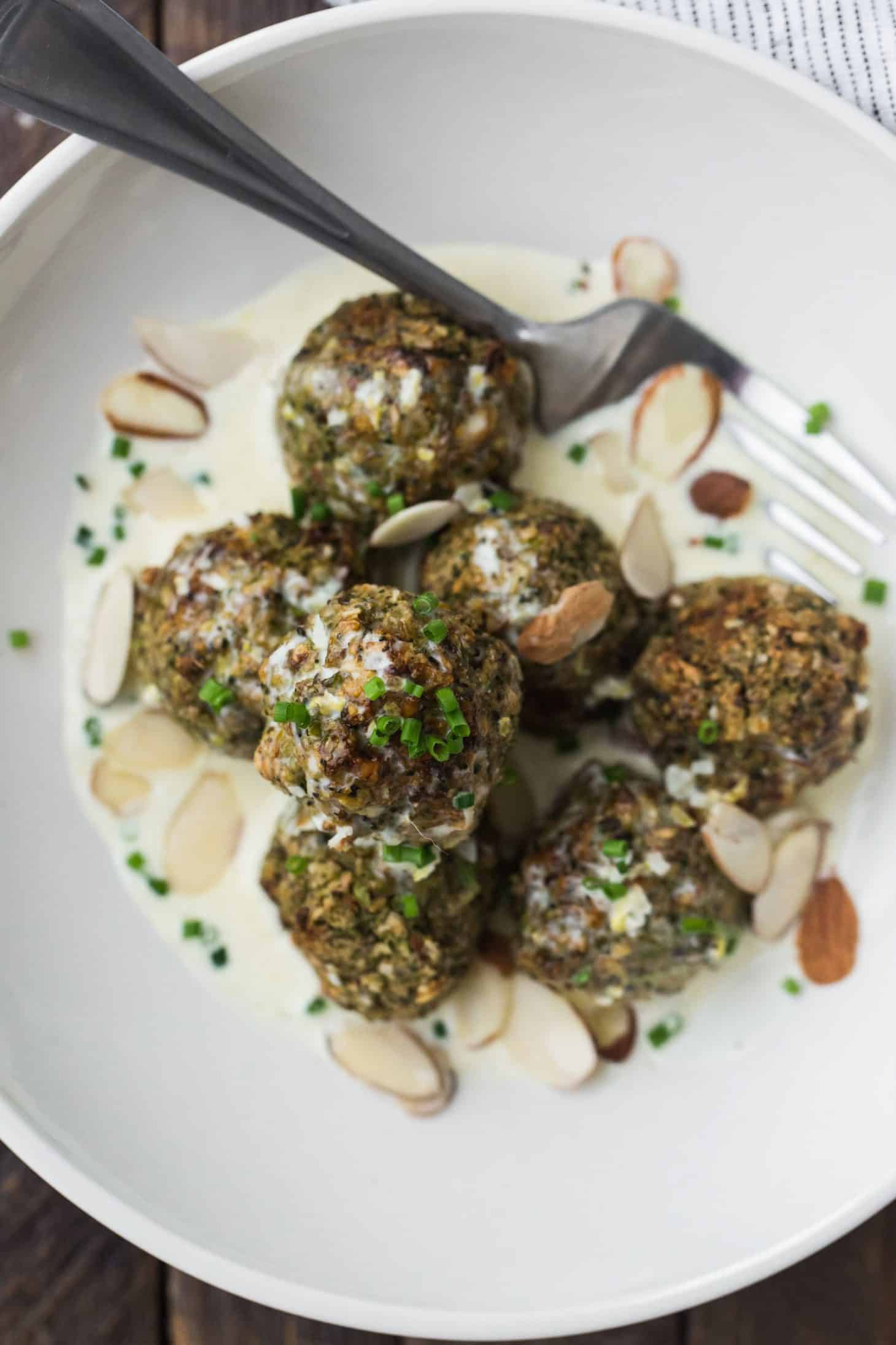 Lentil Broccoli Bites with Lemon Cream Sauce