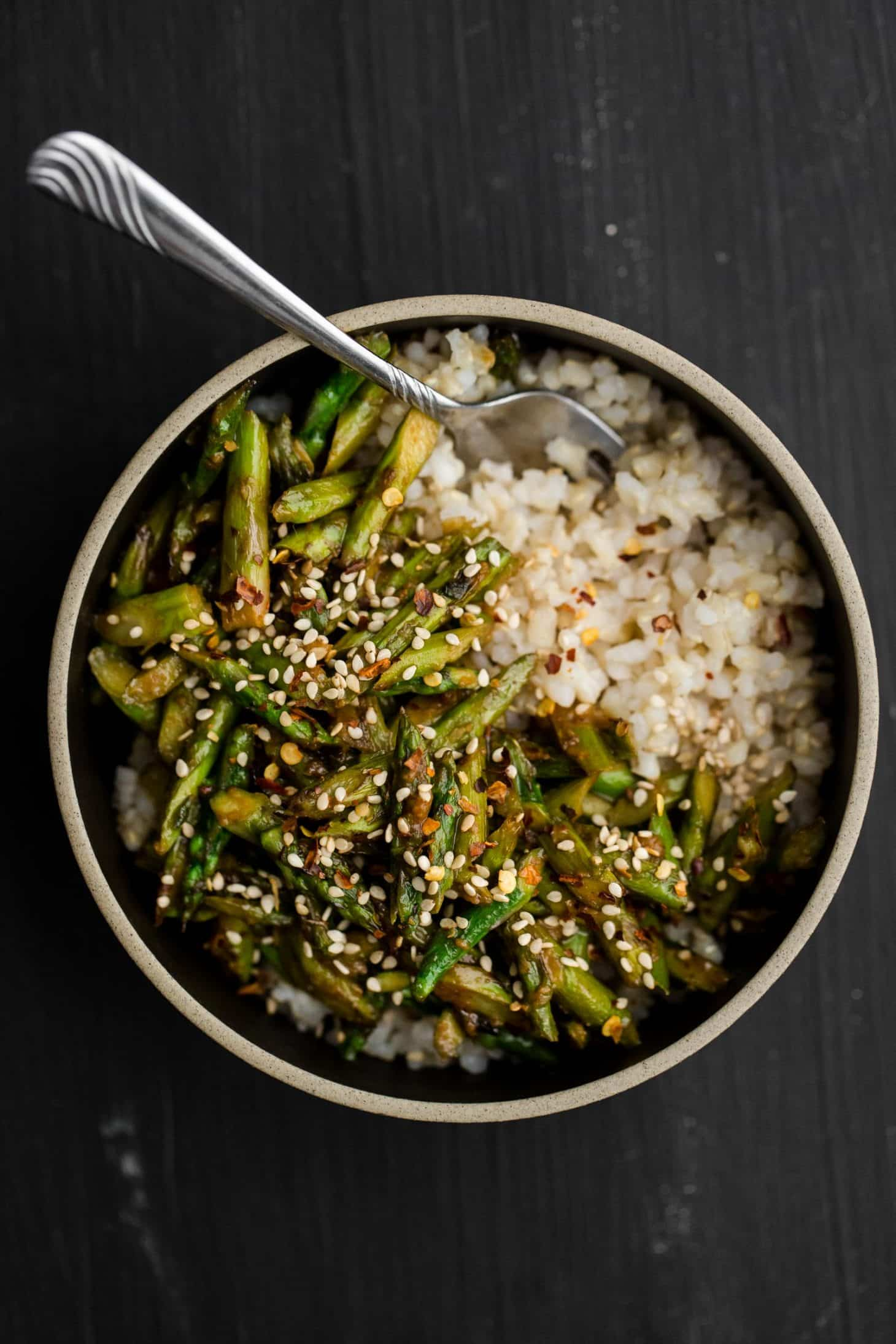 Asparagus Stir-Fry with Sesame-Miso Sauce | Naturally Ella