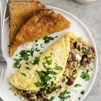 Freekeh Omelette with Olives and Feta