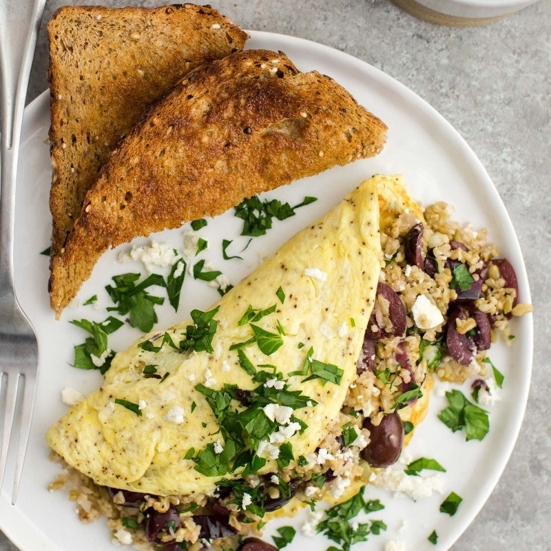 Freekeh Omelette with Olives