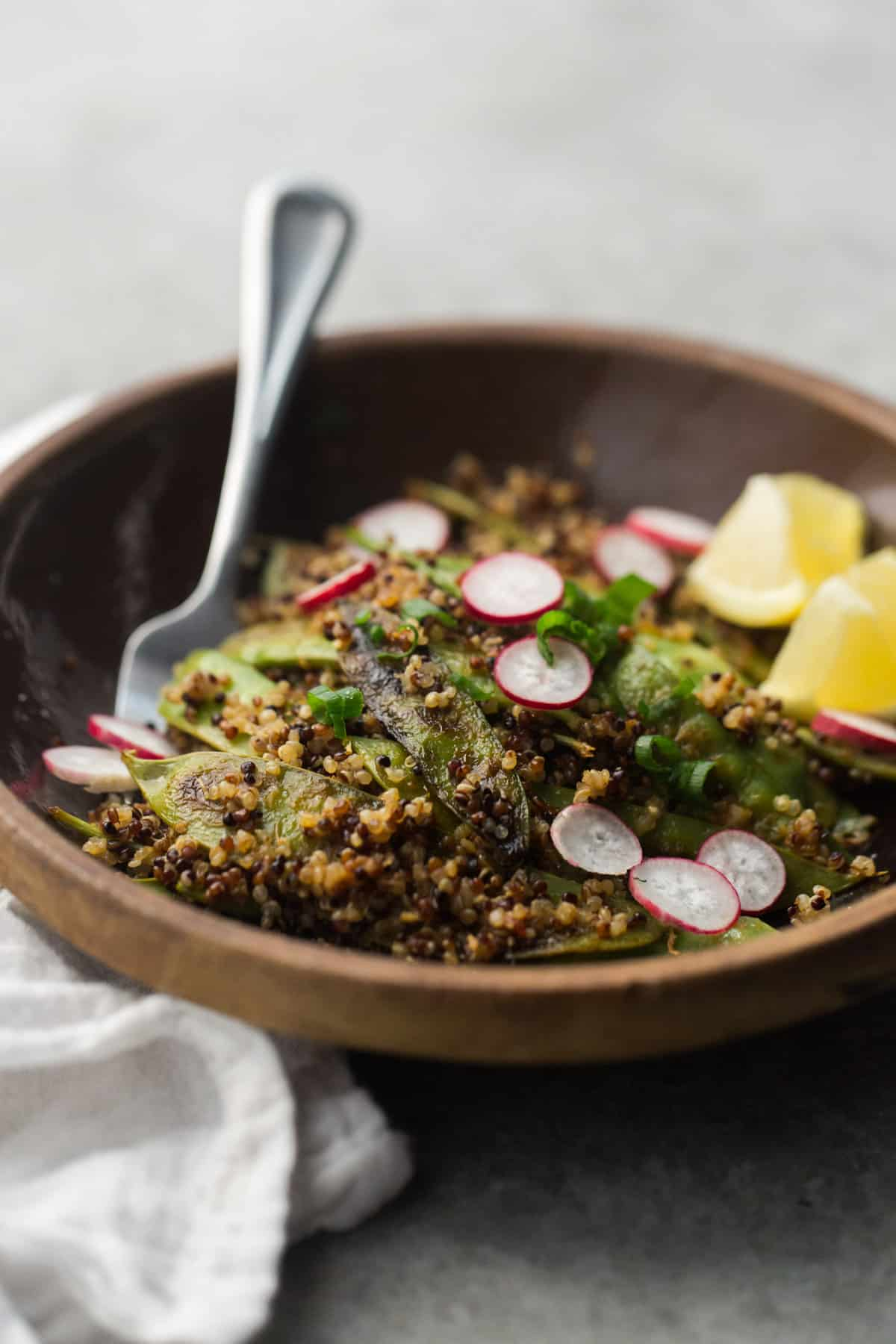Spicy Snow Peas and Quinoa