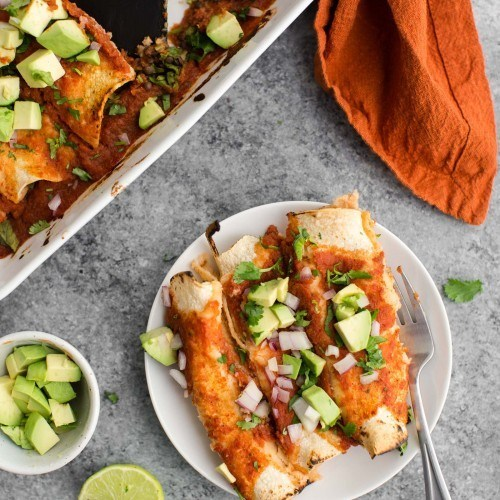 Spinach Enchiladas with Lentils and Homemade Enchilada Sauce