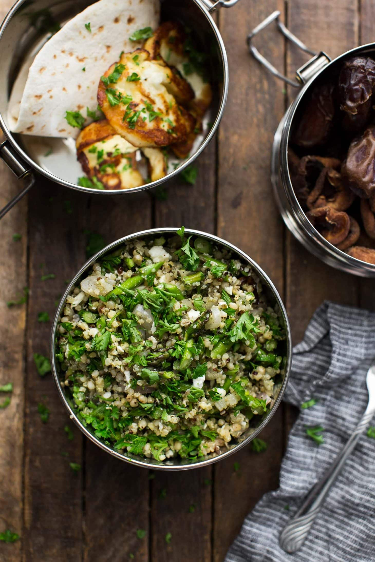 Three-Grain Pilaf with Roasted Asparagus and Feta