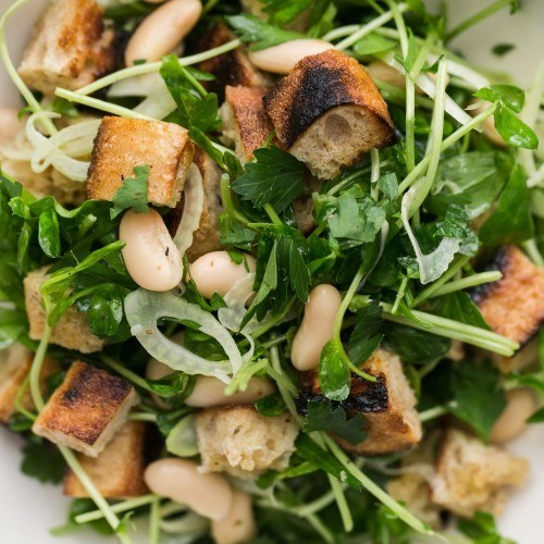 White Bean Salad with Pea Shoots and Grilled Bread
