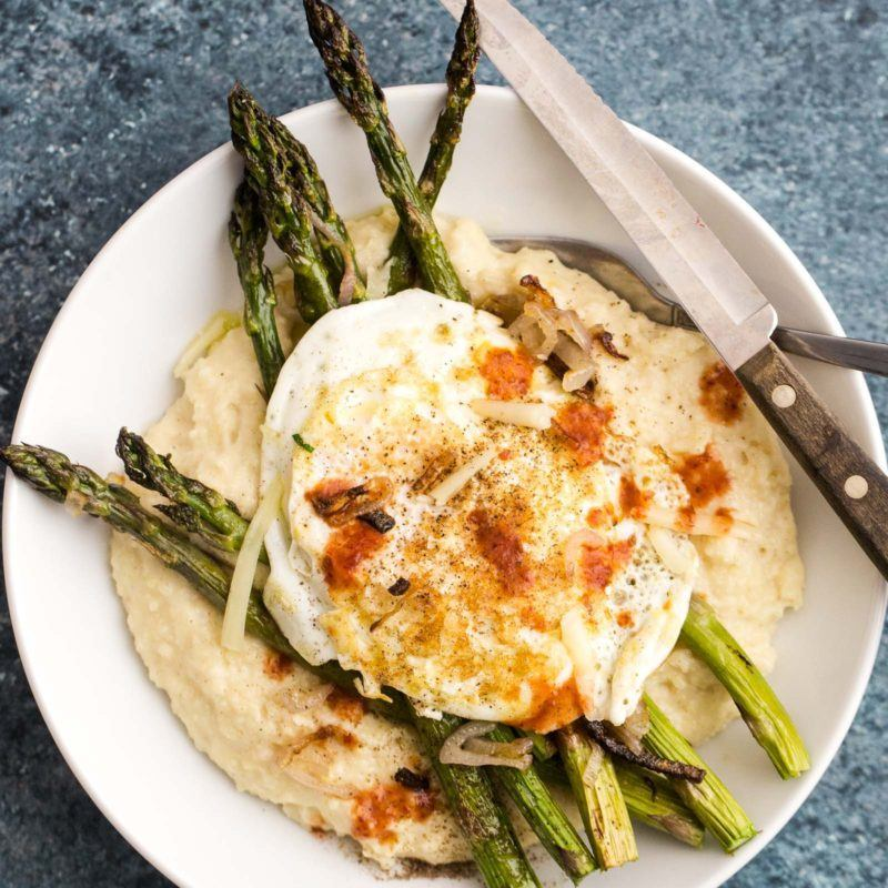 Cheesy Millet Polenta with Roasted Asparagus