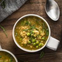 Pea Soup with Freekeh and Pesto