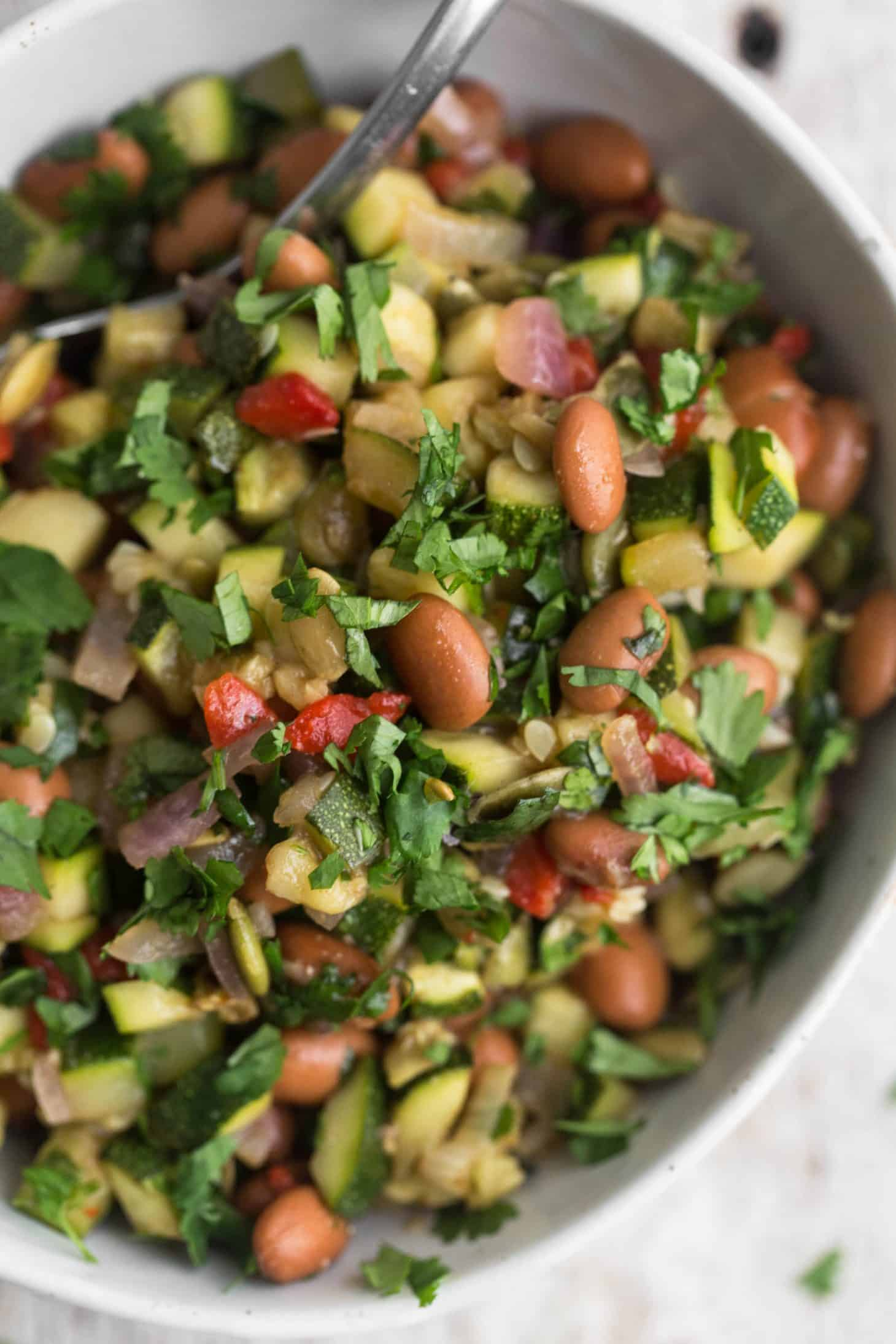 Cumin Zucchini Salad with Pinto Beans and Roasted Red Peppers | @naturallyella