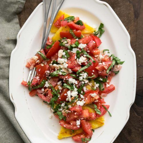 Fried Polenta with Tomatoes and Feta