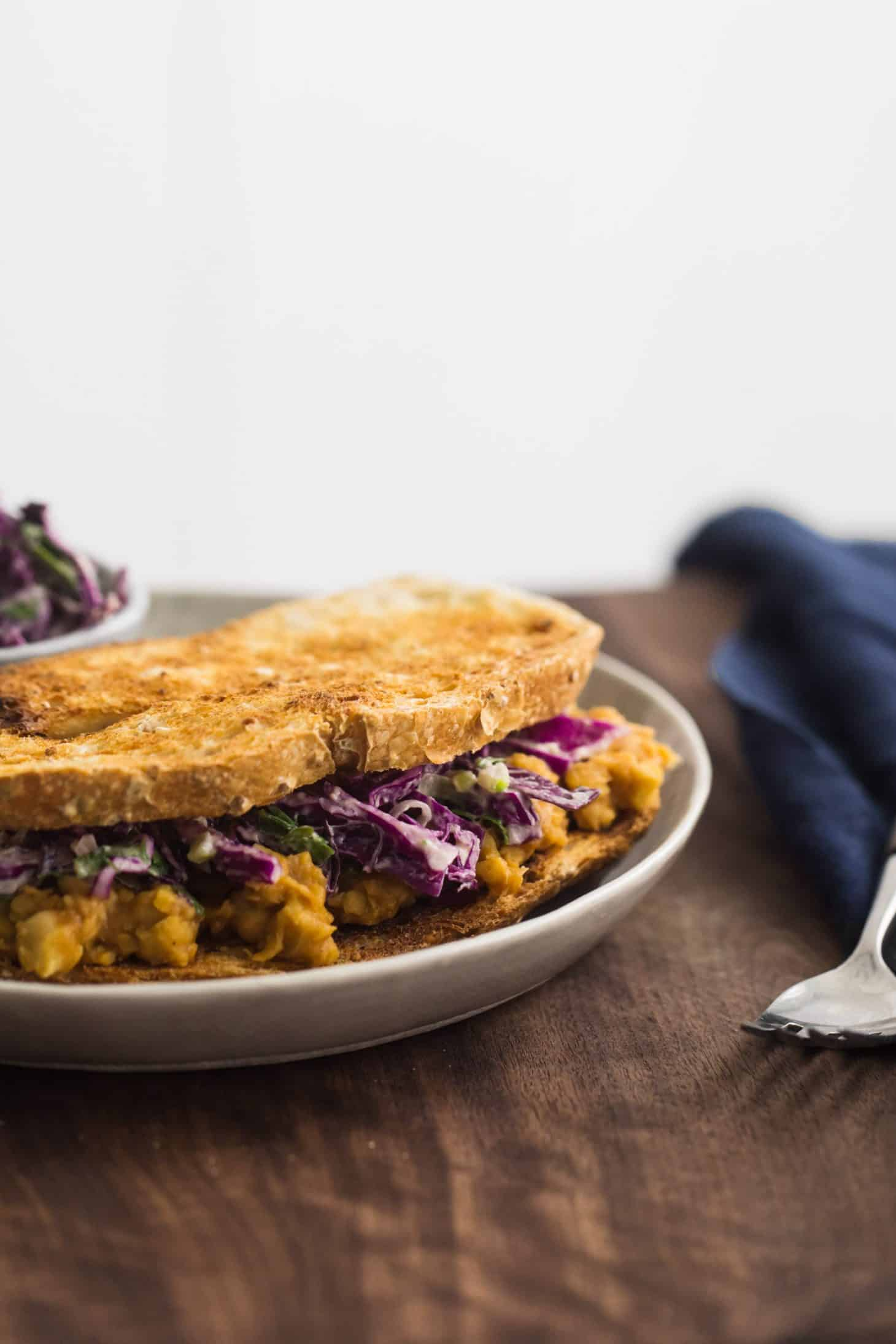 BBQ Chickpea Sandwich with Tahini Slaw | @naturallyella