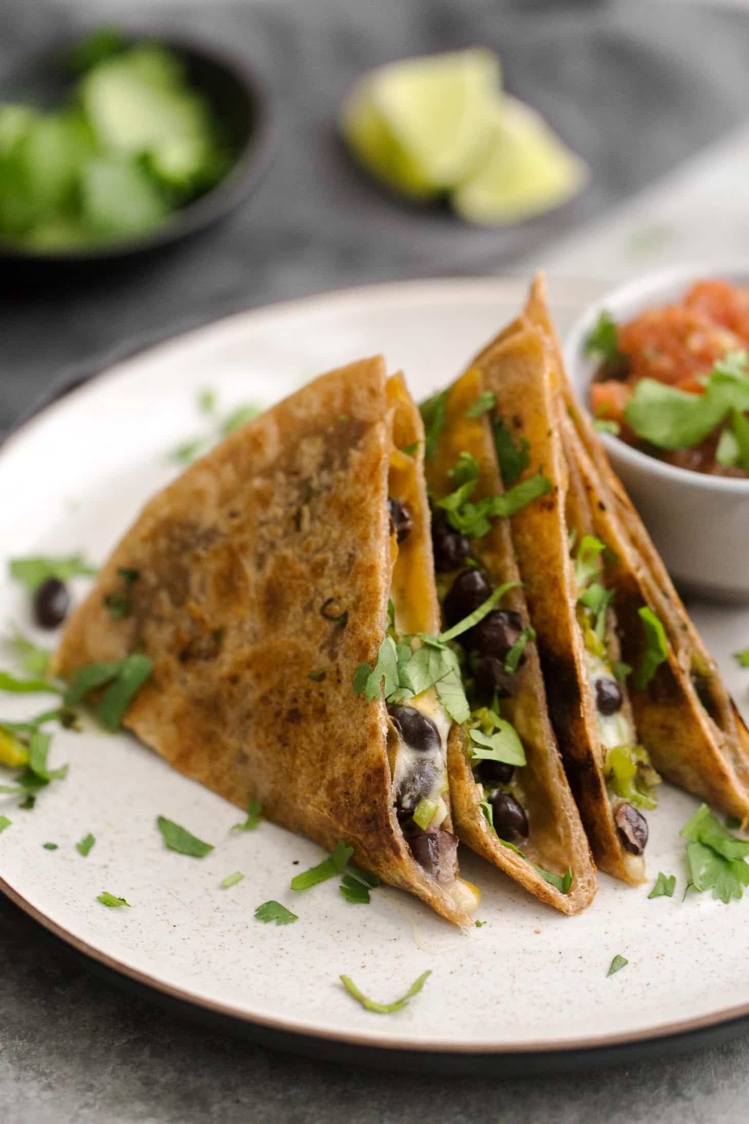 Black Bean Quesadillas with Garlicky Shishito Peppers | @naturallyella
