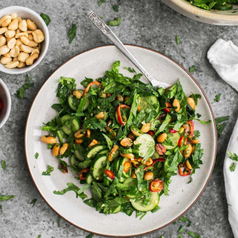 Cucumber Peanut Salad with Spinach | @naturallyella