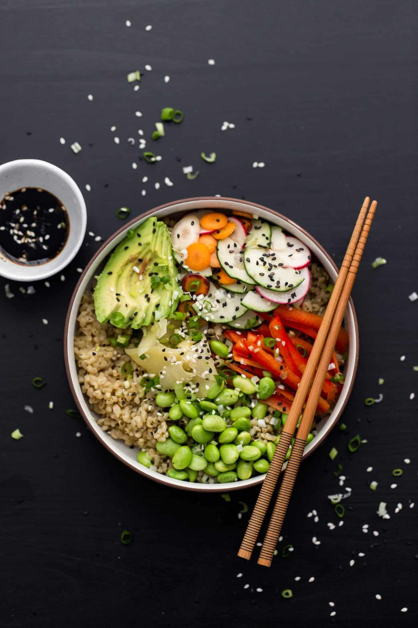 Vegetarian Sushi Bowl with Green Tea Rice | @naturallyella