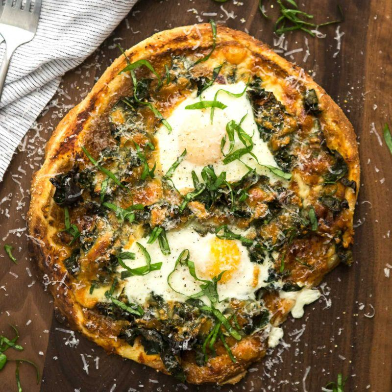 Garlicky Kale Pizza with Eggs   @naturallyella