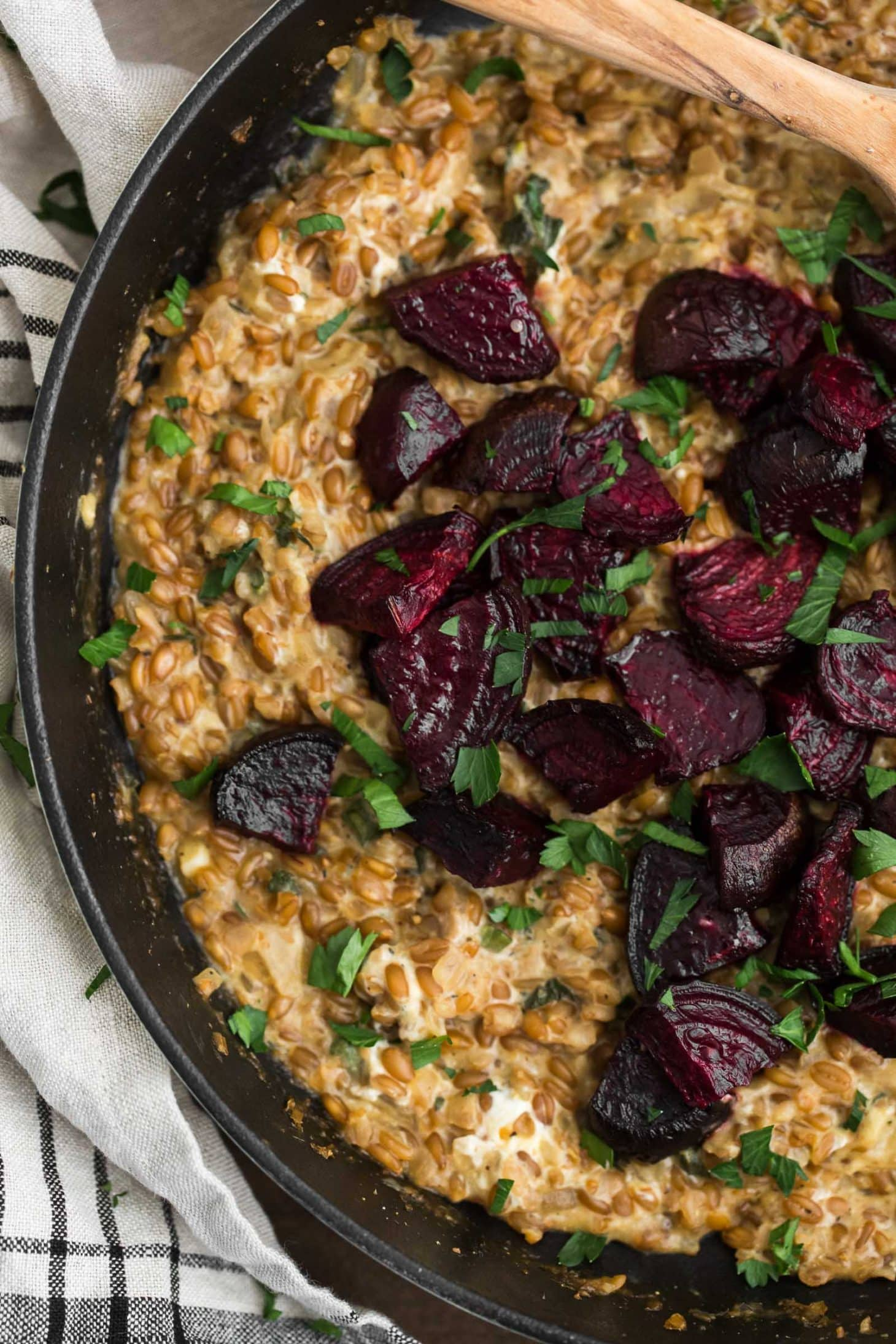 Cracked Spelt Risotto with Roasted Beets | @naturallyella