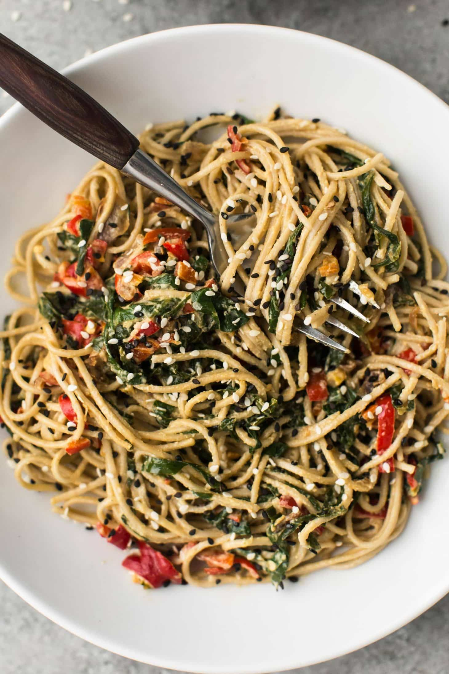 Tahini Noodle Bowl with Collards | @naturallyella