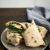 Apple Wrap with Cheese and Mustard Hummus