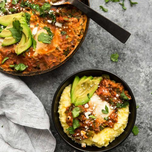 Enchilada Skillet with Eggs and Poblano Peppers | @naturallyella