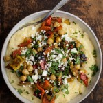 Curry Grilled Vegetables with Chickpeas and Creamy Polenta