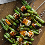 Snap Pea Skewers with Soy-Ginger Sauce