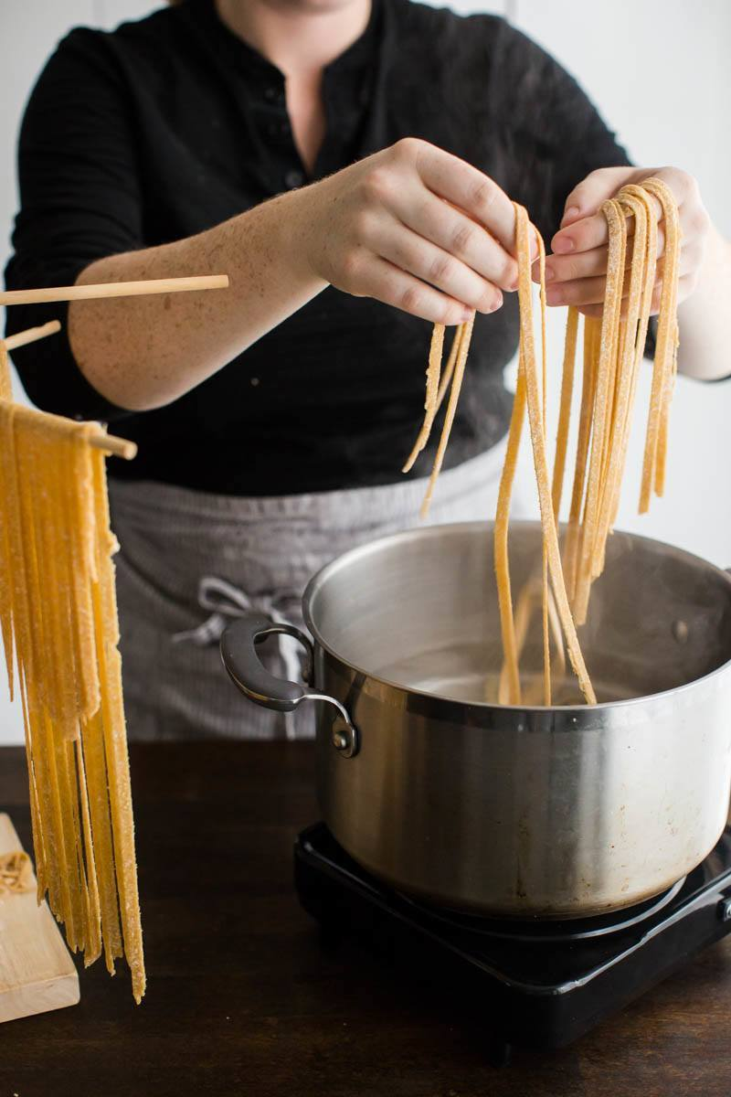 Cooking homemade pasta