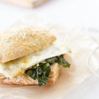 Herb Biscuit, Swiss Chard, and Egg Sandwich