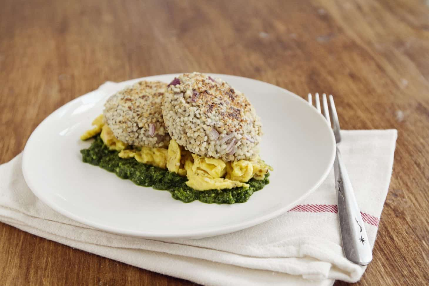 Quinoa Patties with Eggs and Spinach Pesto | Naturally Ella