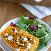 Twice Baked Butternut Squash with Quinoa and Gorgonzola