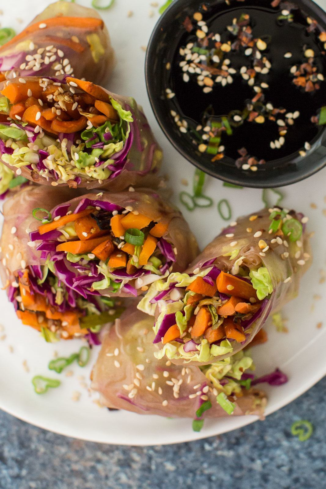 Roasted Carrot Summer Rolls with Scallions and Cabbage