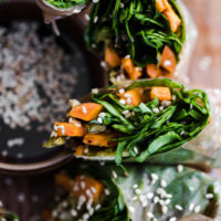 Roasted Sweet Potato Rice Paper Rolls with Spinach