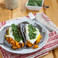 Breakfast Tacos with Kale-Cilantro Chimichurri Sauce