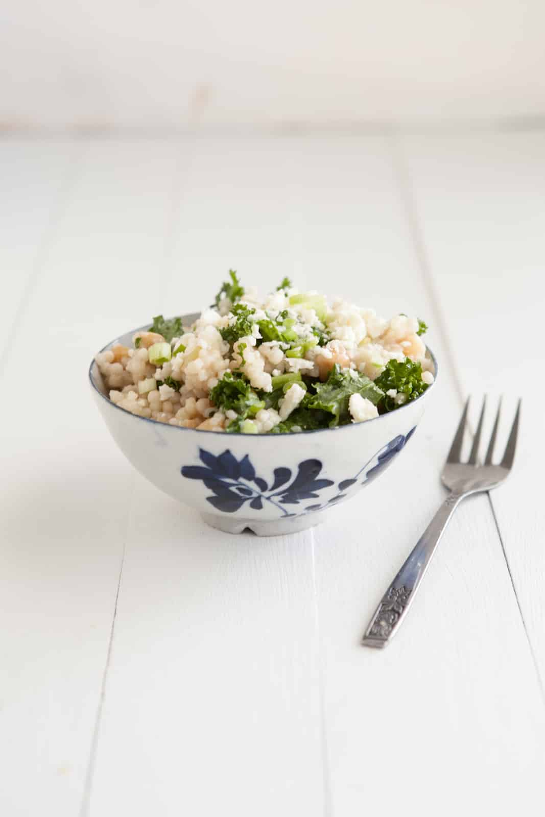 Couscous with Kale and Green Garlic Dressing: Spring Recipe