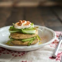 Chickpea Cakes with Shaved Asparagus and Yogurt