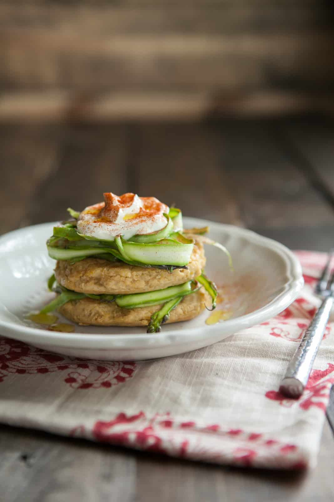 Chickpea Cakes with Shaved Asparagus