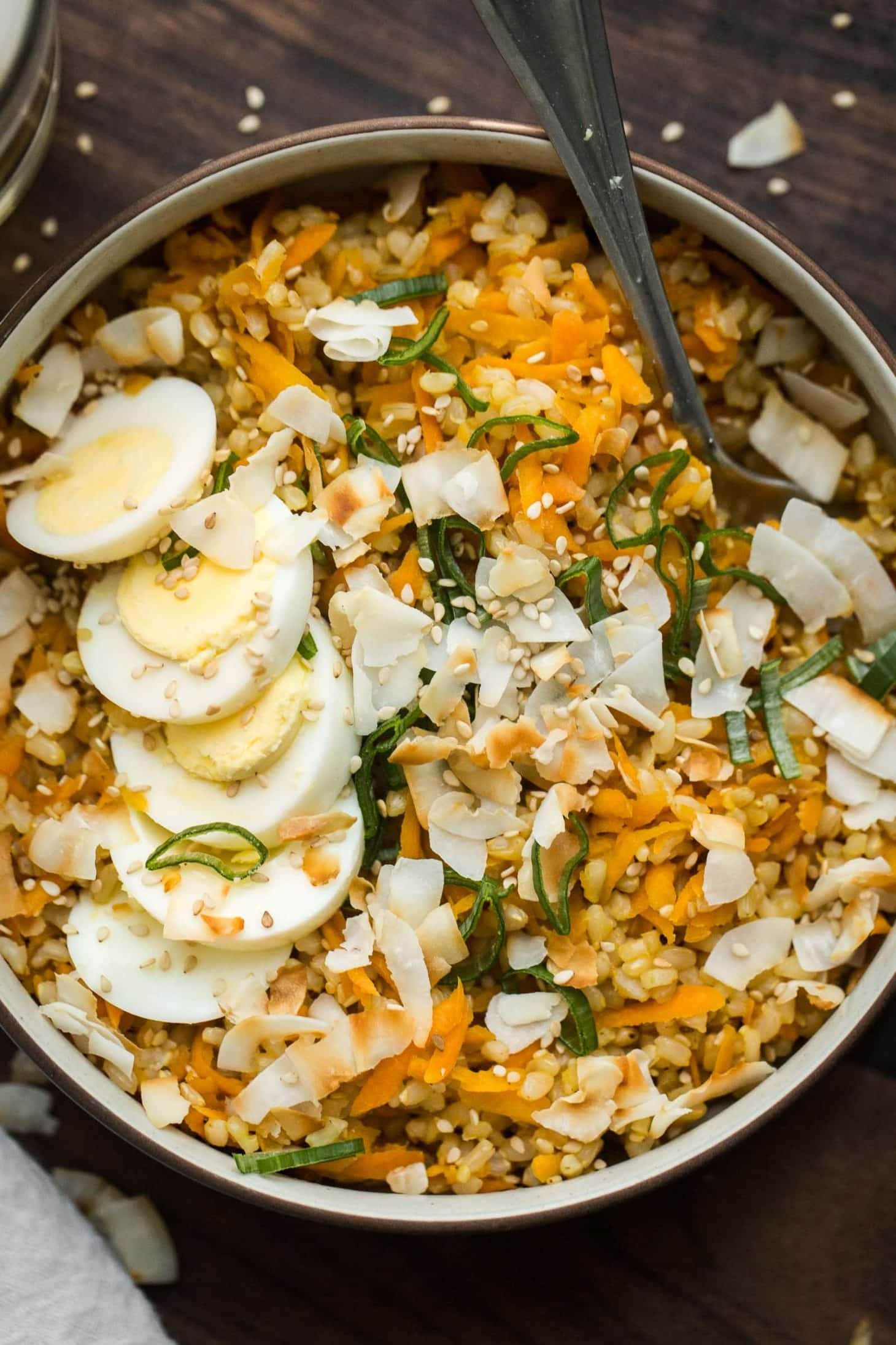 Ginger Brown Rice with Carrots and Hardboiled Eggs