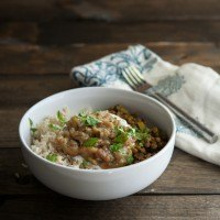 Curried Lentils and Rhubarb Chutney