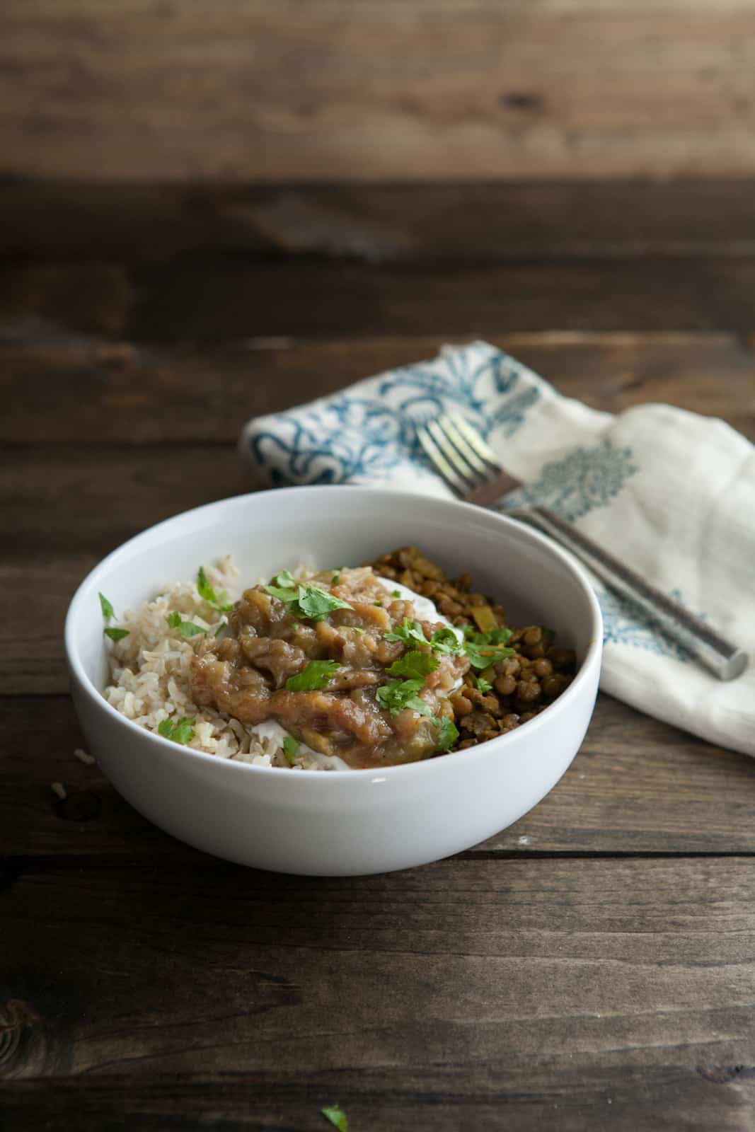 Flavorful curried lentils paired with tangy rhubarb chutney | naturallyella.com