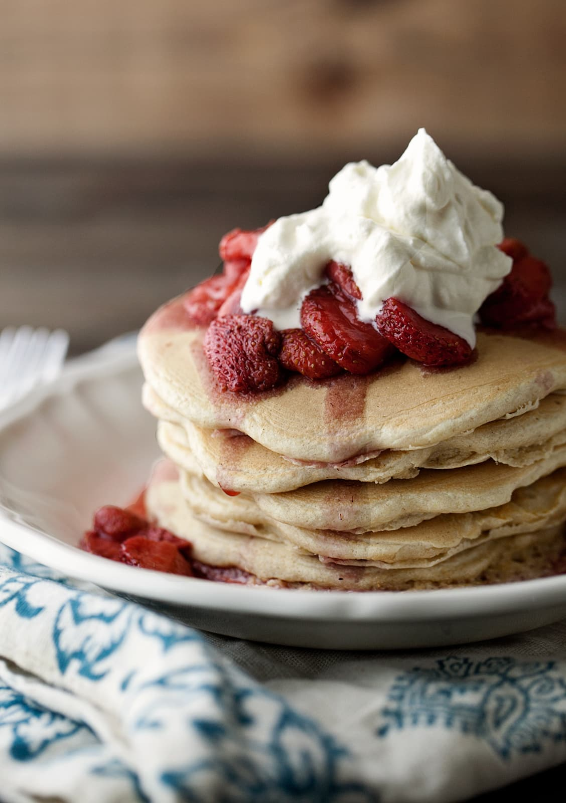 Pecan Wheat Pancakes with Maple Bourbon Strawberries: Spring recipe