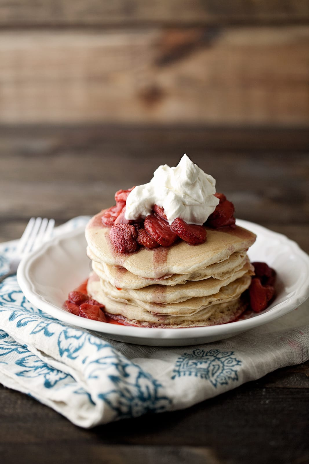pancakes with maple bourbon strawberries | @naturallyella