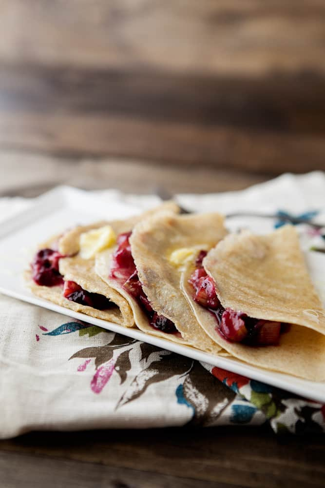 Roasted Blueberry and Rhubarb Crepes with Honey and Butter | naturallyella.com