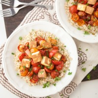Roasted Curried Tomatoes with Fried Paneer and Rice
