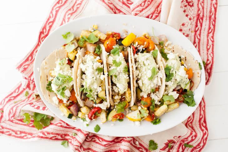 Summer Vegetarian Tacos with Avocado Cream and Roasted Vegetables | @naturallyella